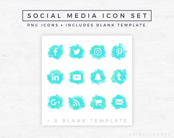 Social Media Icons // Watercolor Icons, Blog Graphics, Icon Pack, Social Media Clipart, Blogger Graphics, Turquoise Icons [Instant Download]