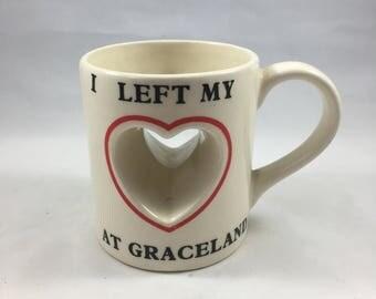 Vintage Heart Cut Out I Left My Heart at Graceland Souvenir Mug