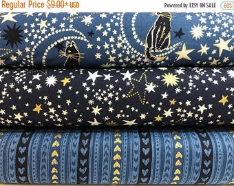 Sale Bundle of 3 Fabrics from the Cat's Cradle Collection by Robert Kaufman, Metallic Stars, Gold Metallic, Midnight, Navy