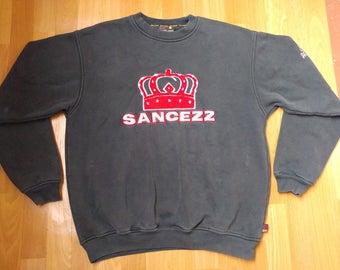 Sancezz sweatshirt, black jacket of vintage 90s hip-hop clothing, old school 1990s hip hop shirt, hoodie, OG, gangsta rap, size M Medium