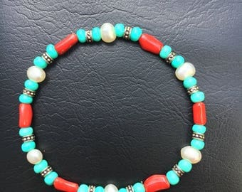 Bamboo Coral and Pearl Bracelet
