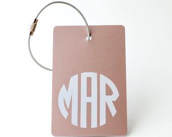Rose Gold Monogram Luggage Tag - FREE SHIPPING, Rose Gold Monogram Luggage Tag, Luggage Tag, Custom Luggage Tag, Custom Gift, Monogram Gift