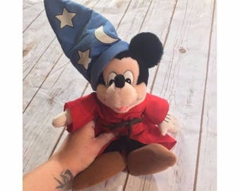 """Vintage Mickey Mouse Sorcerer 13"""" Plush Toy by Applause, Vintage Disney Plush, Mickey Mouse Fantastic Toy, Made in Korea, Vintage Disney Toy"""