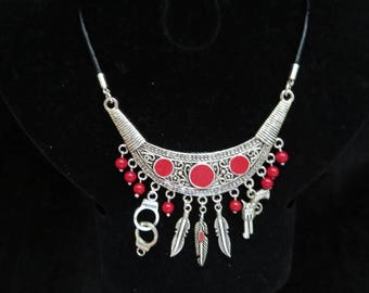 country necklace with coral beads and charms