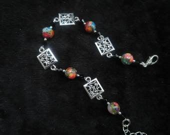 Rainbow Jasper and swarovski crystal bracelet