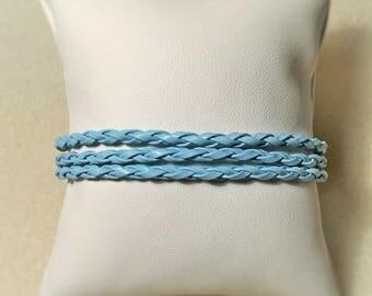 """Blue leather"" bracelet"