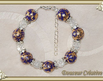 Purple bracelet, gold gilded beads 101020