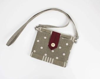 Bag shoulder linen striped and polka dots