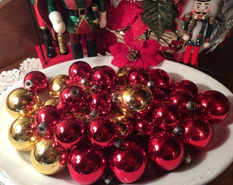 Vintage Lot 32 Christmas tree ornaments gold and red home decor