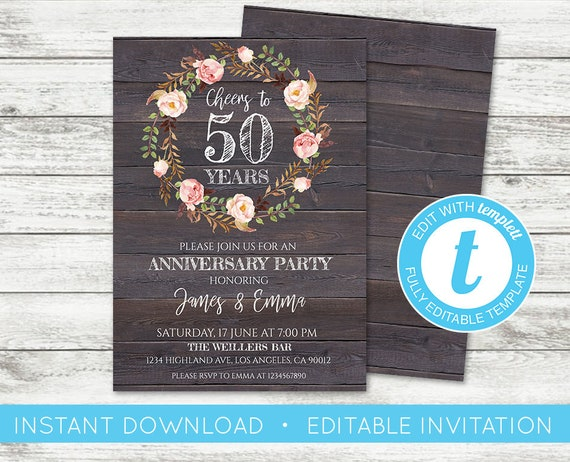 Edit yourself anniversary invitation editable anniversary te gusta este artculo solutioingenieria Choice Image