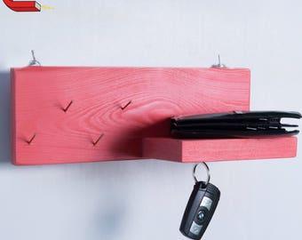 Handmade wooden key hanger + shelf