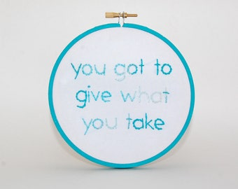 FREEDOM George Michael lyrics embroidered wall hanging