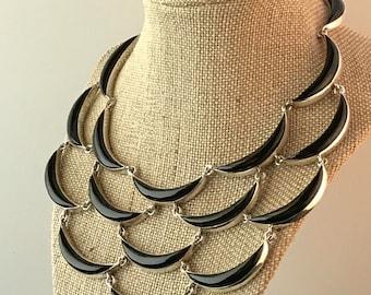 Vintage TAXCO Antonio Pineda Sterling Onyx Curve Link Necklace Mexico Signed Collector's Piece Eagle # 17