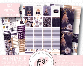 Midnight Full Weekly Kit Printable Planner Stickers | JPG/PDF/Silhouette Compatible Cut Files | For Use with ECLP Vertical