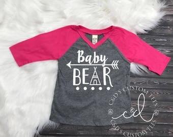 Baby Bear Shirt - Little Sister Shirt - Baby Bear Raglan Shirt - Girls Raglan Shirt - Raglan Tee - Sibling Shirt - Little Sister - Baby Bear