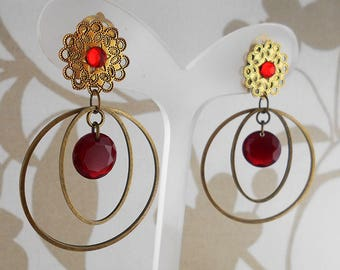 Earring clip red Syracuse (made in France)