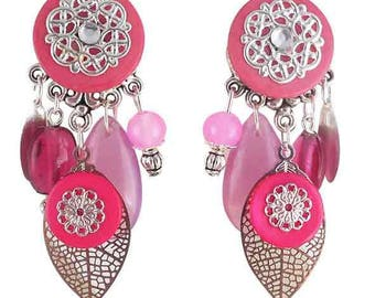 Earrings clips Spring Fuchsia leaves (made in France)