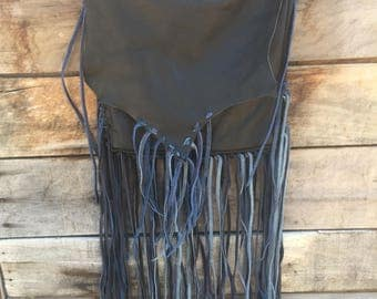 Soft Black leather crossbody possibles bag with fringe lace