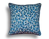 Outdoor Pillow Cover  - Blue Pillow Cover - Zippered Pillow - Pillow with Piping - Leopard Print Pillow - Animal Print Throw Pillow -Outdoor