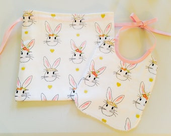 Bag and Bunny baby bib set
