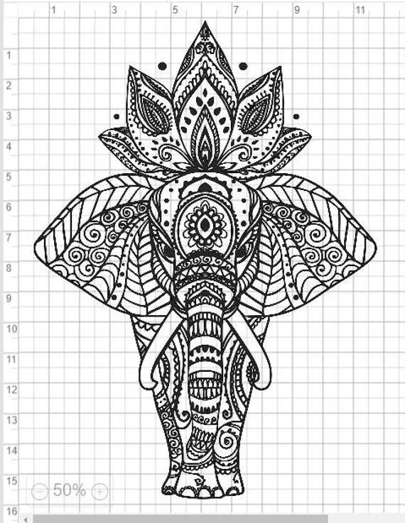 Mandala Style Elephant SVG PDF EPS Dxf & Studio 3 Cut Files