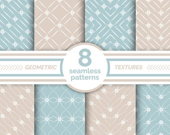 Vector seamless patterns. Modern geometrical seamless textures. Digital paper. AI+EPS10+JPEG+PNG. For commercial and personal use