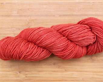 red plant dyed 100% wool yarn tomato soup