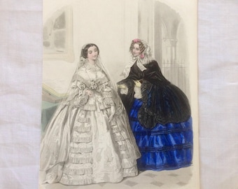 Antique engraving, 1856 young people newspaper held bridal fashion France Magazine