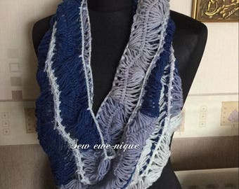 Hairpin lace crochet cowl scarf