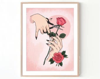 Morticia Trimming the Roses // Giclée Archival Matte Art Print