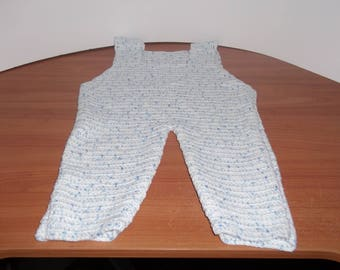 Jumpsuit in Heather blue and white baby 12 months crochet handmade