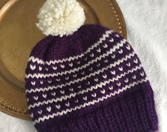 fair isle knit pompom hat