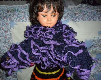 scarf froufrou or ruffles at the pretty colors Navy Blue and lavender