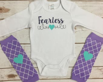 Fearless Baby Girl Outfit - Baby Girl Leg Warmers - New Baby Girl Clothes - Heart Leg Warmers - New Baby Outfit