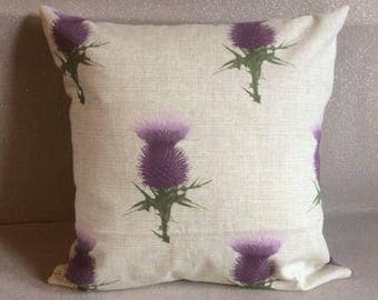 Handmade cushions, tartan, thistle, lilac. Two styles. Home decor. Made in Scotland