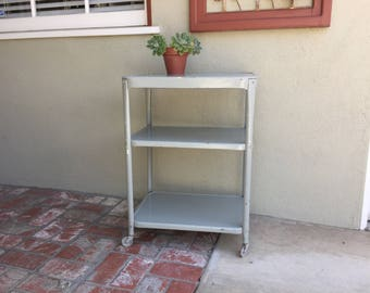 Metal Rolling Cart, 3 Tier Table With Wheels, Chippy Paint Bar Cart, Vintage