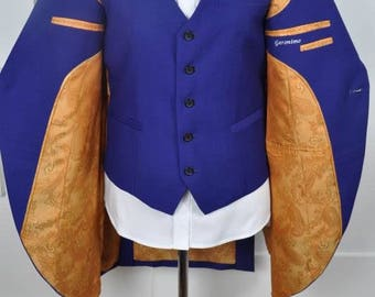 Ladies Suit - Blue Frock Jacket 3 Piece Suit with Gold Lining