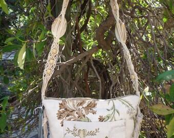 Floral satin shoulder bag