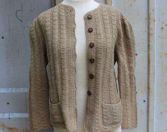 Vintage Beige Acrylic Yarn Jacket- M