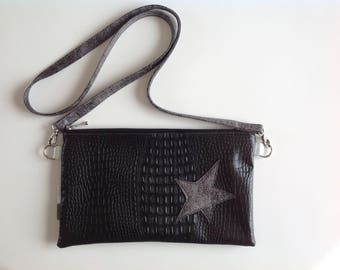 Faux black alligator faux leather clutch bag