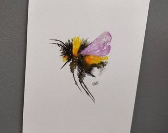 Bumble Bee with Lilac wings. A4 size. Original watercolour painting. Not a print.