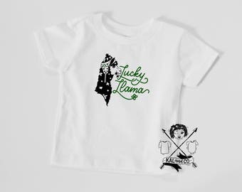 Lucky Llama, st patricks day tee, matching tees, sibling tees, baby shower gift, st pattys day, st patricks day tshirt
