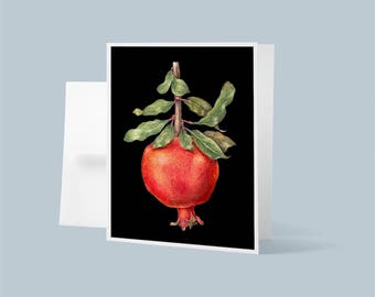 Pomegranate, Note Card, Blank Card with Envelope, Holiday Card, Original Watercolor Painting, Fruit Artwork