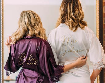Bridesmaid Robe, Initial Robe, Lace Bridesmaid Robe, Bridal Shower Gift, Personalized Robe, Bride Robe, Wedding Day Robe, Wedding Robe,