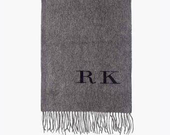 personalised monogrammed cashmere scarf - chacoal