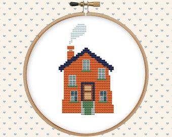 House cross stitch pattern pdf - counted cross stitch - home cross stitch - modern cross stitch - instant download - modern; terracotta