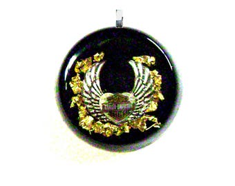 Harley Davidson Orgone Pendant, Simulated Flames with Gold leaf, Soothes Pain