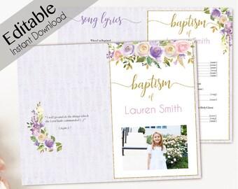 Baptism Program, Editable PDF, Printable Digital Handout Girl Baptism, lavender purple gold pink flowers, watercolor, Girl Baptism Template