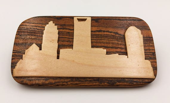 Wooden Charlotte Skyline Belt Buckle - Maple on Bocote Wood