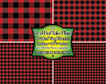 Red Buffalo Plaid Vinyl/Printed Heat Transfer Vinyl/Patterned Vinyl/Printed 651 Vinyl/Printed 631 Vinyl/Printed Outdoor Vinyl/Printed HTV